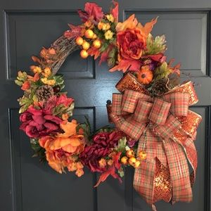 """FALL GRAPEVINE WREATH WITH BOW 22"""""""